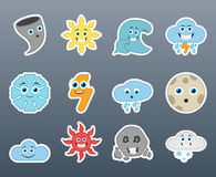 Weather conditions smile stickers set Stock Image