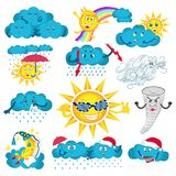Weather cute characters set stock illustration