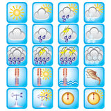 Weather day. Set of vector icons on the weather theme Stock Photography
