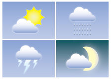 Meteorology. Different types of weather with clouds, sun, moon, lightning and rain. A set of four images with nice and bad weather Stock Images