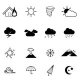 Weather and disaster vector icons set vector illustration Royalty Free Stock Photo