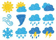 Weather doodle icons Stock Photography