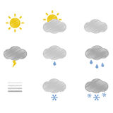 Weather doodle icons set Stock Photo