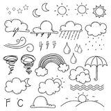 Weather Doodle Vector Set. Stock Images