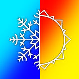 Weather Elements - Summer Sun and Winter Snow Royalty Free Stock Images