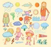 Weather elements, vector illustration Stock Photos