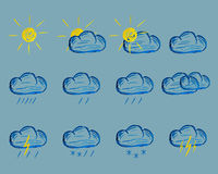 Weather Felt Pen Drawing Icons Royalty Free Stock Photos