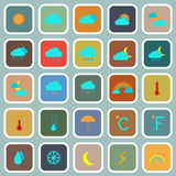 Weather flat color icons on blue background Stock Image
