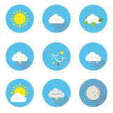 Weather Flat Design Icons Stock Photography