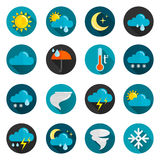 Weather Flat Icon Set. Weather conditions signs rain cloud sun and temperature flat color icon set  vector illustration Royalty Free Stock Photo