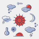 Weather flat icon vector set. Weather flat icon vector set template Royalty Free Stock Image