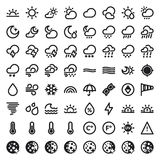 The Weather flat icons. Black stock illustration