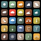 Weather flat icons with long shadow Stock Photos