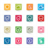 Weather flat icons set and white background. This image is a vector illustration Royalty Free Stock Images