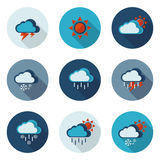 Weather flat icons in vector format Stock Photo