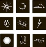 Weather flat square icons. White outlines, clouds, fog, moon, sun, rain, snow, storm, temperature, wind against a black background Royalty Free Stock Photo