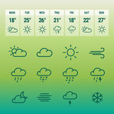 Weather forcast line icons on green. Stock Photo