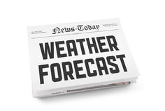 Weather forecast. A stack of newspapers with headline Weather Forecast on a front page. Isolated on white stock photo