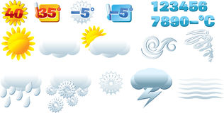 Weather forecast. Vector illustration of few basic weather icons Royalty Free Stock Photos