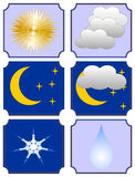 Weather forecast. Six icons for a weather forecast. Set 2 Royalty Free Stock Photos