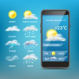 Weather Forecast App Vector. Good For Use In Mobile Phone App. Predict The State Of The Atmosphere For A Given Location. Weather Forecast App Vector. Blue Stock Images