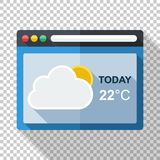 Weather forecast application icon on transparent background. Weather forecast application icon in flat style with long shadow on transparent background stock illustration