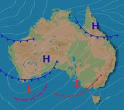 Weather forecast of Australia. Meteorological weather map of the AUSTRALIA. Realistic synoptic map with aditable generic vector illustration
