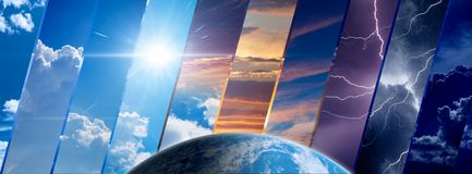 Weather forecast background, climate change concept. Collage of sky image with variety weather conditions and planet Earth. Elements of this image furnished by stock image