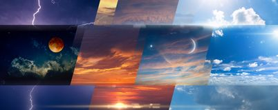 Weather forecast background, collage of skies photos with variety weather conditions stock photos