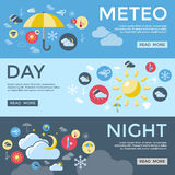 Weather Forecast Banner Set Stock Photo