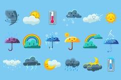Weather forecast big set, meteorology symbols collection vector illustration. On a on a light blue background Stock Images