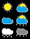 Weather forecast chalk icons set Stock Photos
