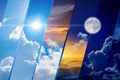 Weather forecast collage, day and night, light and darkness, sun. Opposites in nature: day and night, light and darkness, sun and moon. Weather forecast collage royalty free stock photos