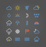 Weather forecast color web icons Royalty Free Stock Photos