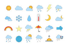Weather forecast colorful icons set Stock Photography