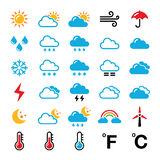 Weather forecast colorful  icons set Stock Images