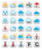 Weather forecast colorful vector buttons set Stock Photos