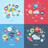 Weather Forecast Compositions. With four square icon set on rainy day meteo night themes vector illustration Stock Photos