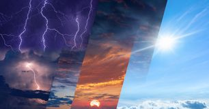 Free Weather Forecast Concept, Collage Of Variety Weather Conditions Stock Image - 149924291