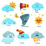 Weather forecast elements with faces and signs set Stock Images