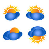 Weather forecast glossy icon - Clouds set Royalty Free Stock Image