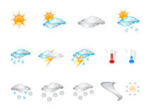 Weather Forecast Glossy Vector Icons. Set of different fancy weather shiny vector icons isolated on white Royalty Free Illustration