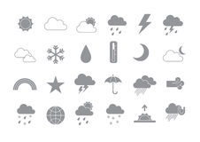 Weather forecast gray  icons set Royalty Free Stock Images