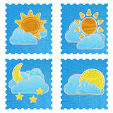 Weather forecast icon in fabric style . Royalty Free Stock Images