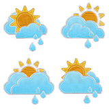 Weather forecast icon in fabric style . Set of weather forecast icon in fabric style Stock Photography