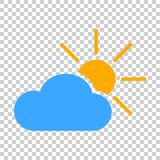 Weather forecast icon in flat style. Sun with clouds illustratio. N on isolated transparent background. Forecast sign concept Stock Image