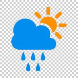 Weather forecast icon in flat style. Sun with clouds illustratio. N on isolated transparent background. Forecast sign concept Royalty Free Stock Photos