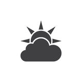Weather forecast icon , partly cloudy solid logo illustrat. Ion, pictogram isolated on white Royalty Free Stock Images