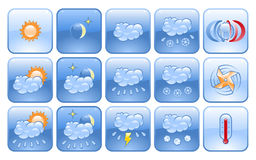 Weather forecast icon set. Set of weather forecast pictograms vector illustration