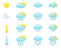 Weather forecast icon set. Set of 16 weather forecast icons. Isolated on white background. EPS format is available Vector Illustration